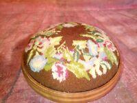 Vintage Old Wooden Foot Stool Tapestry Floral Round Kneeling Seat Prop