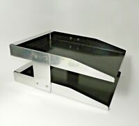 Vintage Modernist C-Line Aluminum Exec Desk Double Letter Holder In Box Tray MCM