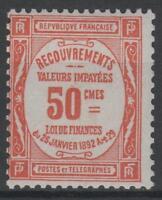 """FRANCE YVERT TAXE 47 SCOTT POSTAGE DUE  J 50 """" 50c RED """" MNH VVF N217"""
