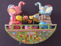 Vintage Windup Toyland Elephant See-Saw Tin Toy SM Japan