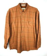 Orvis Button Front Shirt Mens Size Large L Long Sleeve Brown Plaid Checks