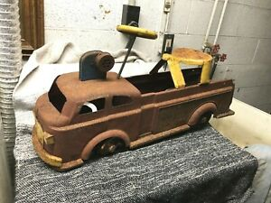 Vintage Child's Push & Ride Fire Truck, Rust Condition for Restore!