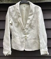 Noa Noa Romance Linen Ivory Ramie Single Breasted Jacket Size S UK8-10