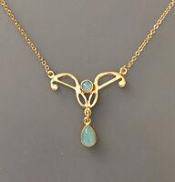 9906045-ds 925er Silber vergoldet Jugendstil-Collier mit Opal