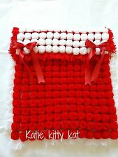 RED & WHITE POM POM TURNOVER BABY BOY OR GIRL BLANKET WITH REMOVABLE BOWS