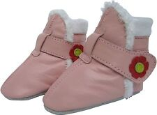carozoo pink booties 6-12m soft sole leather baby shoes