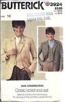 UNCUT Vintage Butterick SEWING Pattern Misses 1970's Jacket Vest 3924 12 OOP SEW