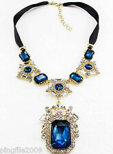 New Fashion Luxury Rhinestone/crystal Bib Statement Neon Chunky Necklace Q671