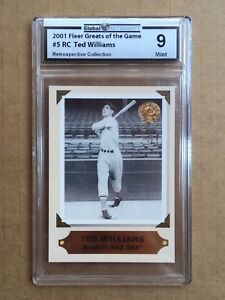 TED WILLIAMS 2001 Fleer Greats of the Game Retrospection Collection 5RC - GA 9 M