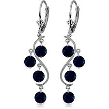 4 Carat 14K Solid White Gold Chandelier Earrings Natural Sapphire
