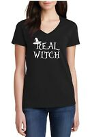 Ladies V-neck Real Witch Shirt Halloween Fall T-Shirt Hocus Pocus Tee Funny Gift