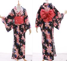 K-025 schwarz weiß rot Sakura Blumen Original Japan Kimono YUKATA OBI Gürtel