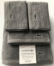 Lacoste Legend Meteorite Gray 4 Pc Towel Set 1 Bath 1 Hand 2 Face Supima Cotton