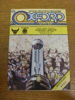 29/09/1984 Oxford United v Carlisle United  . Footy Progs (aka bobfrankandelvis)