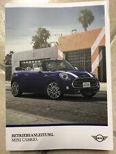 MINI CABRIO 2018 Betriebsanleitung Bedienungsanleitung Handbuch Cabrio Cabriolet