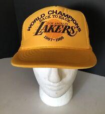 NOS  VTG Lakers Snapback Trucker Hat 1987-88 Champions Los Angeles NBA