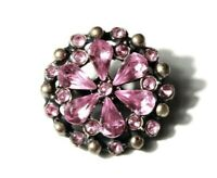 Art Deco Czech vintage pin brooch pink glass rhinestones
