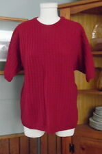 Pendleton Wool Cable Knit Sweater Top Large Dark Red Short Sleeves Made In USA