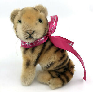 Steiff Tiger Sitting Mohair Plush 10cm 4in 1950s no ID Glass Eyes Vintage