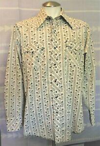 VTG 70s Black Pearl Snap Men's Western Shirt Montgomery Wards Gray Floral 16 1/2