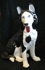 "Husky or Malamute Dog Statue Ceramic Figurine 11-1/4"" Tall Black/White Blue Eyes"