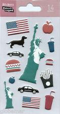 Stickers 3d pour ordinateurs consoles cahiers New York Etats Unis 14 cm x 7,5 cm