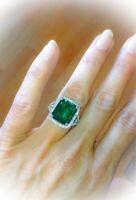 2ct Green Emerald Diamond Split Shank Band Engagement Ring 14k White Gold Finish