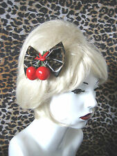 ROCKABILLY CHERRY SWALLOW LEOPARD HAIR BOW  ALLIGATOR CLIP . PIN-UP / RETRO LOOK