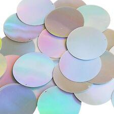 Silver Lazersheen Metallic Sequin 40mm Round Couture Paillettes