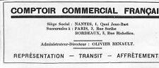 NANTES COMPTOIR COMMERCIAL FRANCAIS OLIVIER RENAULT PUBLICITE 1923