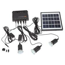 Outdoor Solar Power Panel LED Light Lamp USB Charger Home System Kit Garden 4W