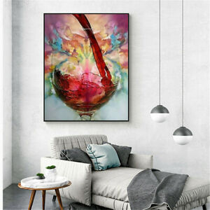 Abstract Red Wine Glass Oil Painting Canvas Print Wall Art Cafe Bar Home Decor