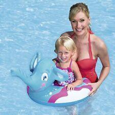 Blu Elefante Ride on Piscina Nuotare Anello Galleggiante & Water Pistola Spray Bagagliaio