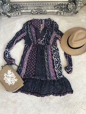 M&S Purple Navy Boho Hippy Earthy Smock Kaftan Dress 8