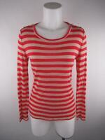 Ann Taylor Petite Women PM Red Beige Striped Shoulder Button Scoop Neck Knit Top