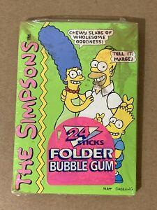 VINTAGE 1990 The Simpsons 24 Sticks FOLDER Bubble Gum. Sealed. Rare! Amurol