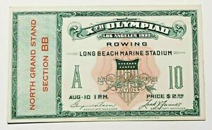 Vintage 1932 Los Angeles Xth Olympic Games Rowing TicketLong Beach Marina Rare!