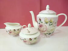 New Gracie China Stechcol Pink Rose Tea Pot Sugar & Creamer 3 Pc Shabby Chic Set
