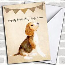 Vintage Burlap Bunting Dog Beagle Customised Birthday Card