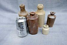 More details for antique x5 old soneware glazed bottles 1800s-1900s great display garden kitchen