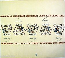 Vintage bread wrapper SAILOR BOY Butch Bakery early one unused new old stock