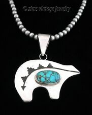 NAVAJO Large Sterling silver Heartline BEAR Turquoise cab Pendant bead NECKLACE