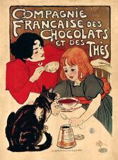 Compagnie Francaise des Chocolats et des Thes Jugendstil Katze Plakate A3 380