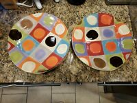 """Set of 4 Pier 1 Urban Dot Colorful Dinner Plates 11 3/4"""" FAST SHIP"""