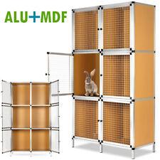 Clapier À Lapin 6 Boxes En Aluminium Et Contreplaqué - Gris Et Brun