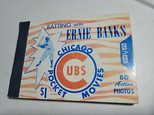 ** WATCH VIDEO**  c. 1960 ERNIE BANKS POCKET MOVIES FLIP BOOKLET Chicago Cubs