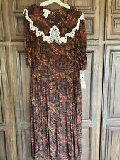 New listing Vintage Scott McClintock 24W 3X Dark Paisley Dress Nwt Lace Collar - Modest