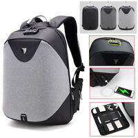Anti- theft Men Backpack Laptop School Travel Bag USB Charging Port Customs Lock
