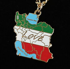 Womans Mans Necklace Gold Plated Map Iran Persian Gulf Pendant Chain Farvahar