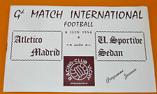 RARE PROGRAMME FOOTBALL 1954 VICHY MATCH INTERNATIONAL ATLETICO MADRID US SEDAN